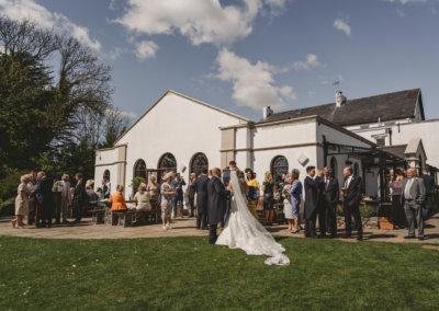 Wedding reception outside on Gower, Swansea